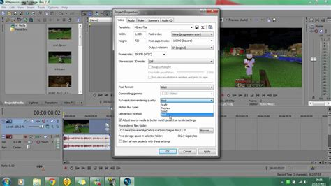 sony vegas pro 11 tutorial how to render in 720p hd sony vegas pro 11 minecraft render settings tutorial 720p