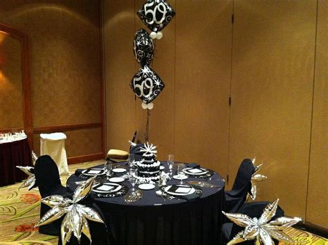 silver black 50th birthday party decor 50th birthday