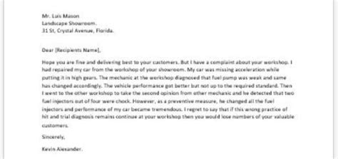 Complaint Letter Vehicle Repair Complaint Letter To Landlord About A Writeletter2
