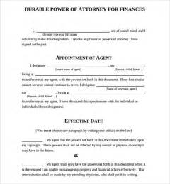 durable power of attorney template sle durable power of attorney form 7 free documents