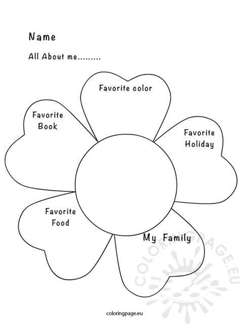 All About Me Activity Sheet Coloring Page All About Me Coloring Pages