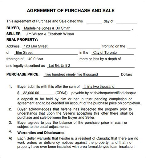 Agreement Of Purchase And Sale Template purchase and sale agreement 7 free pdf
