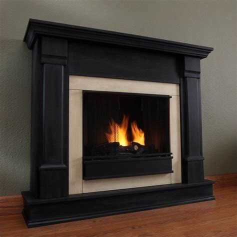 Finish Fireplace by Real Silverton Indoor Gel Fireplace In Black Finish