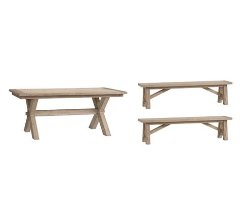 pottery barn bench table toscana extending dining table bench 3 piece dining set