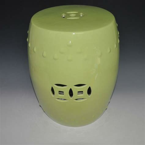 Light Yellow Stool by Pale Yellow Glazed Ceramic Porcelain Stool For Indoor