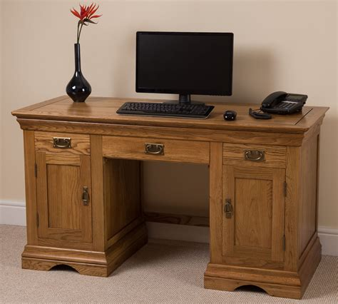 Large Computer Desk Rustic Solid Oak Wood Large Computer Desk Office Studio Unit Furniture Ebay