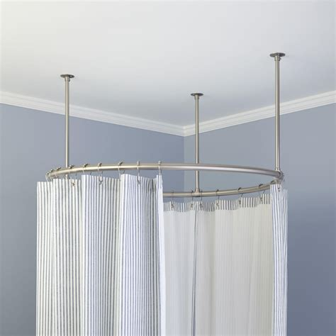 shower curtain round rod shower curtain rods signature hardware