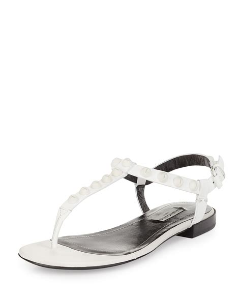 white sandals flat lyst balenciaga studded leather flat sandal in white