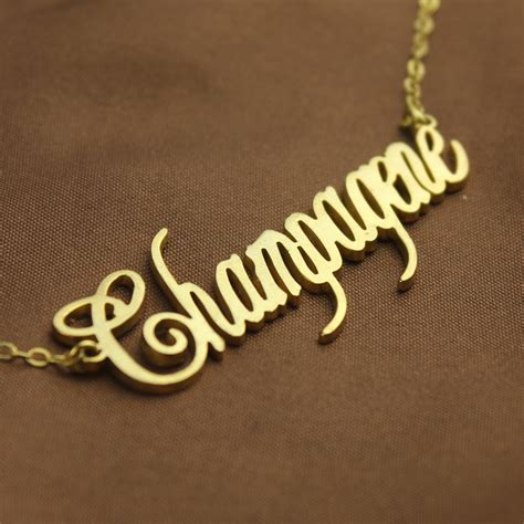 gold personalized chagne font name necklace