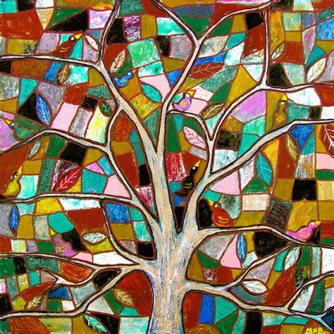 folk art tree art mosaic ceramic clay pottery