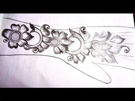 how to pencil draw new mehndi design on paper k47
