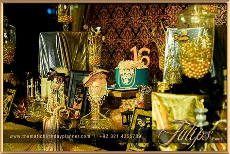 themes golden royal sweet 16 party tulips event management