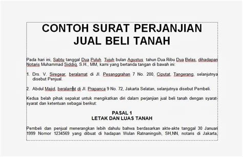 contoh surat perjanjian jual beli tanah motorcycle review and galleries