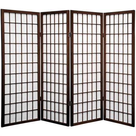 oriental furniture four panel window pane shoji screen in
