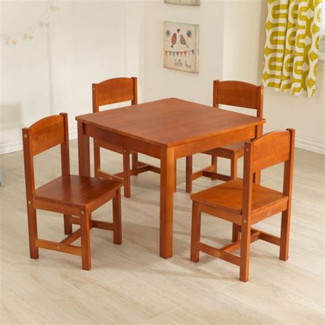 kidkraft farmhouse table and chair set pecan farmhouse kids table 4 chair set pecan kidkraft