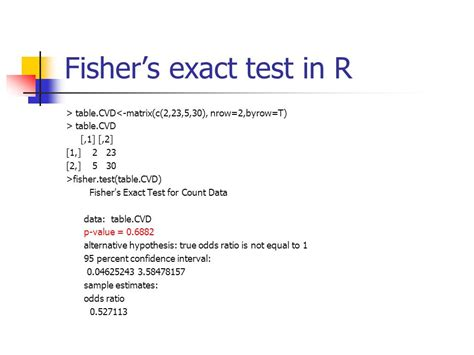 fisher exact test previous lecture analysis of variance ppt