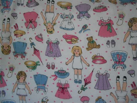 How To Make Fabric Paper Dolls - cotton paper doll fabric vintage paper doll fabric destash