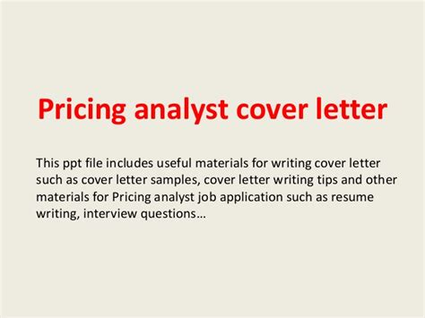 Pricing Cover Letter Pricing Analyst Cover Letter