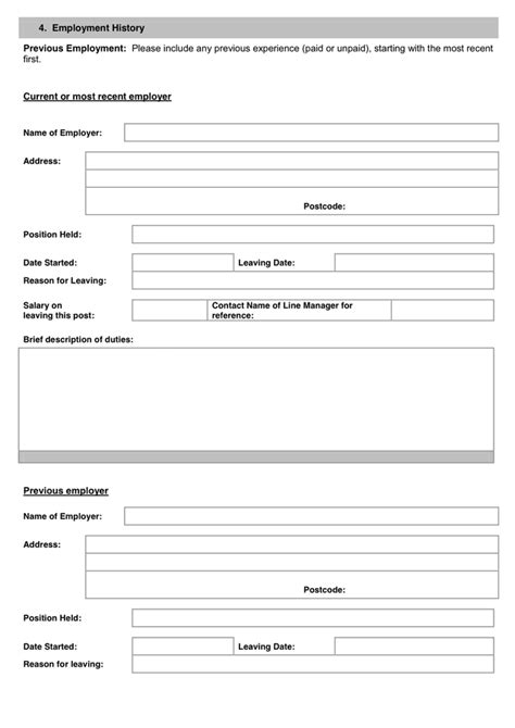 work history template 28 images sle work history template 9 free documents employment