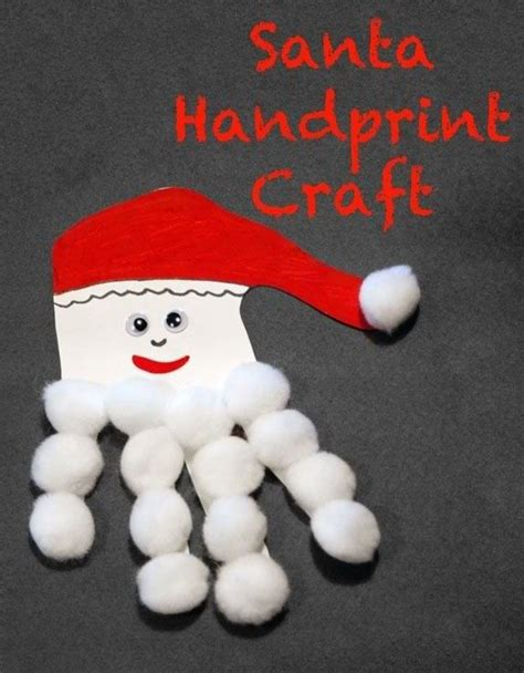 santa handprint craft holidays pinterest