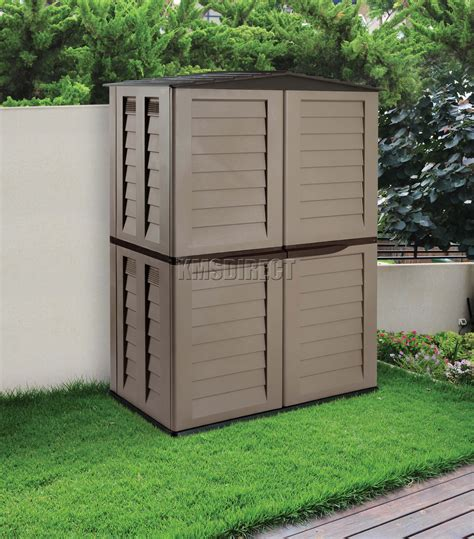 starplast outdoor plastic garden tall shed box storage unit   chocolate  ebay