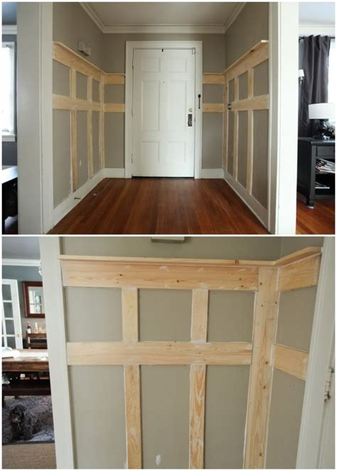 wood wall treatments diy faux paneling would be great for out little entry