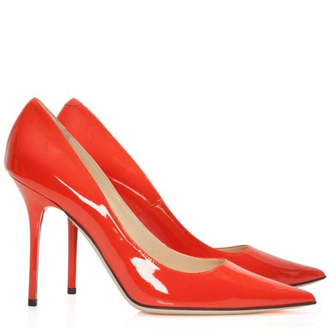 jimmy choo abel orange patent leather pointed court