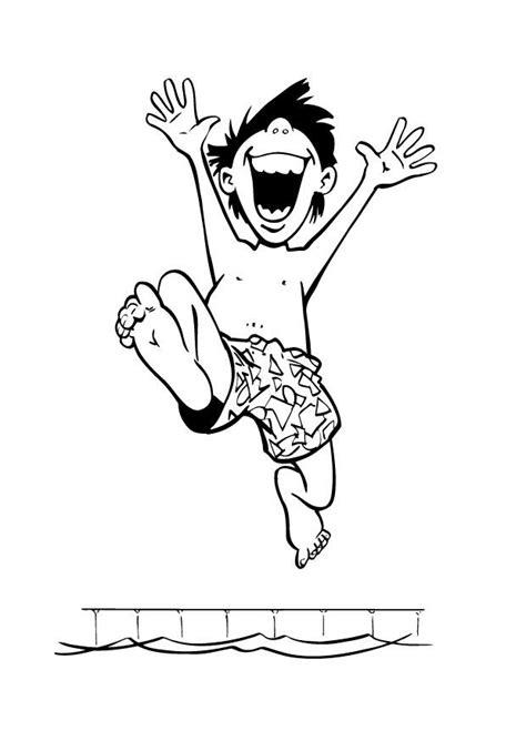 Malvorlage Junge im Schwimmbad | Ausmalbild 9020.
