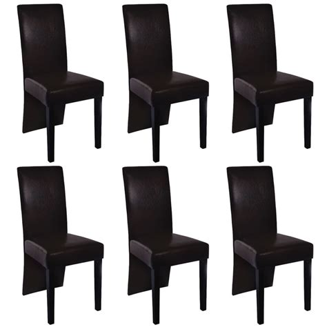 6 Artificial Leather Wooden Dining Chairs Brown Vidaxl Com Dining Chairs Brown
