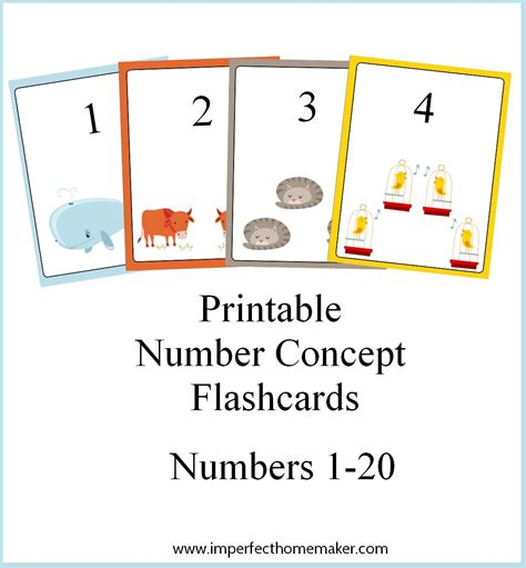 small printable number flashcards printable number concept flashcards imperfect homemaker