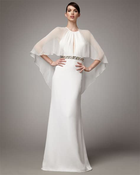 beaded white gown badgley mischka capelet bead waist gown in white ivory