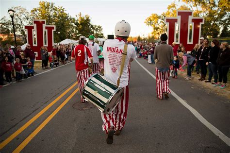 Indiana University Homecoming Parade And Pep Rally James Indiana Drives Parade Float Showing President