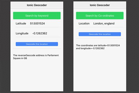 ionic tutorial resources managing geocoding and reverse geocoding within an ionic
