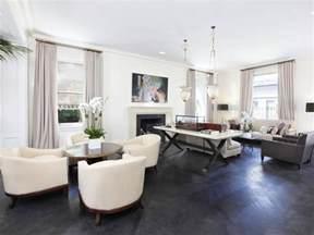 Contemporary living room grey wood floors white grey