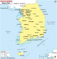 maps with towns cities in south korea map of south korea cities