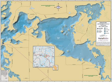 Chaign County Search Island Lake Manitowish Chain Wall Map
