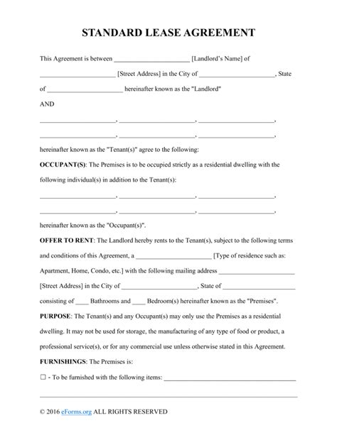 free rental lease agreement templates word pdf eforms
