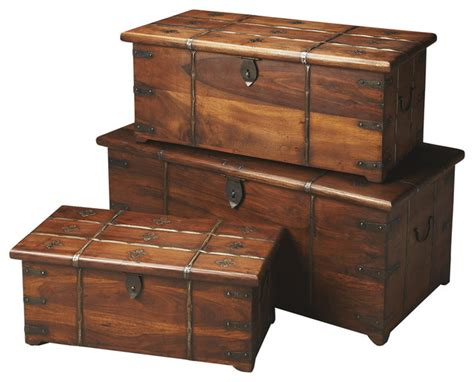 Decorative Storage Trunks And Chests by Butler Arcadia Solid Wood And Iron Storage Trunk Set