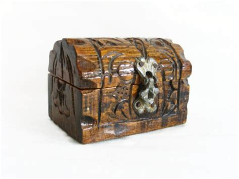 Handmade Wooden Treasure Chest - pirate treasure chest mini handmade wooden carving