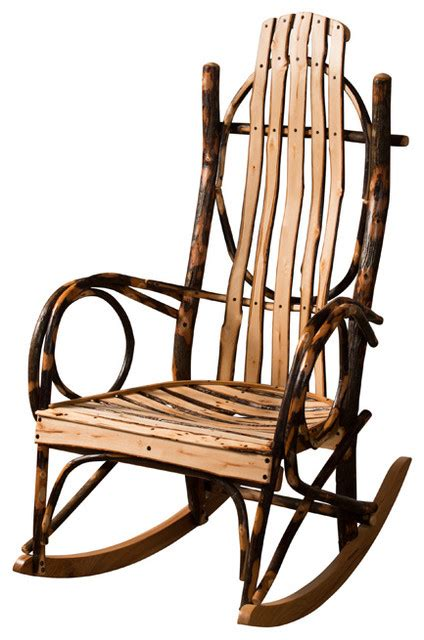 made com armchair amish made hickory rocker live edge slats without footrest rustic rocking