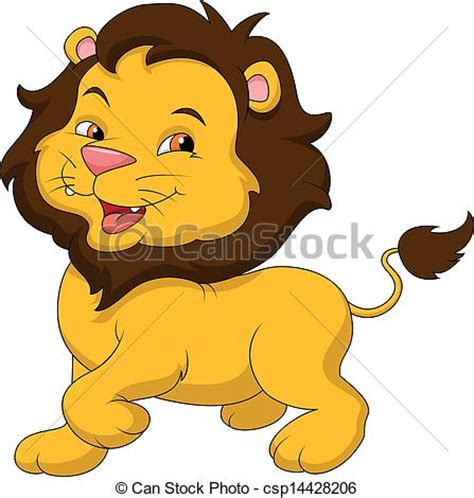 vector clipart of cute baby lion cartoon vector