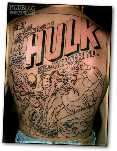 hulk vs wolverine backpiece bme tattoo piercing and