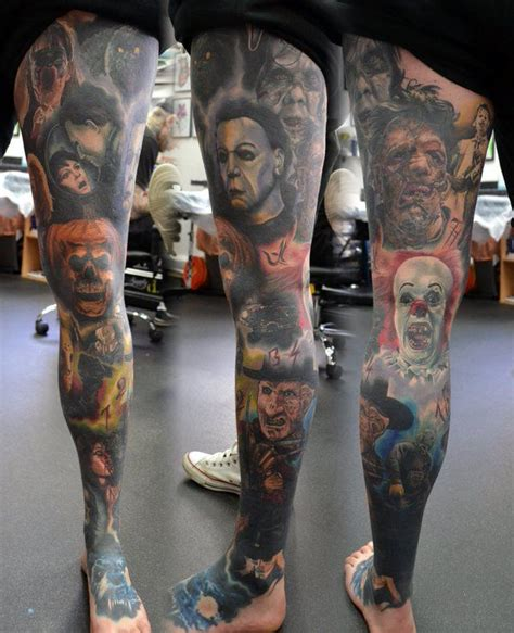 14 best play tattoos images collection of 25 epic horror on leg