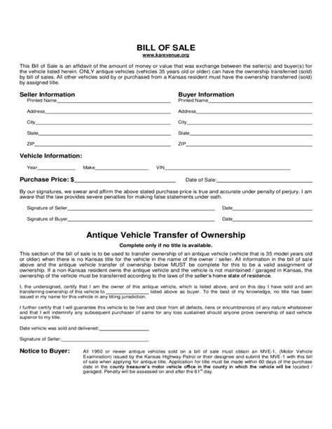 printable bill of sale car kansas vehicle bill of sale form kansas free download