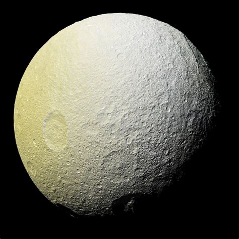 saturn opposite moon space images the colors of tethys i