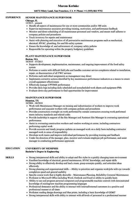 production supervisor resume example