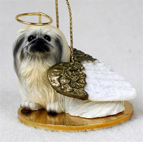 pekingese dog figurine ornament angel statue hand painted