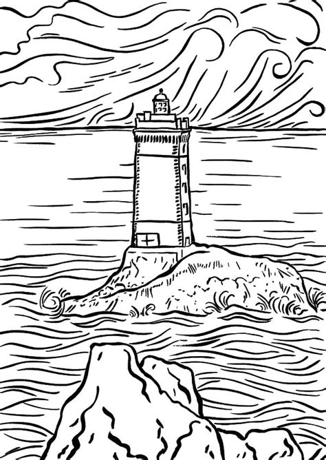 lighthouse   middle   sea coloring pages