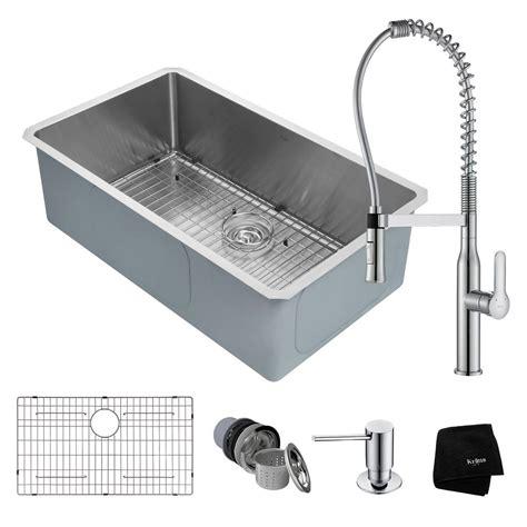 kraus single bowl undermount kitchen sink kraus handmade all in one undermount stainless steel 32 in