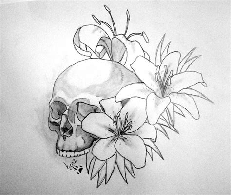 tattoo flash lily skull lily final by soulstrifer on deviantart